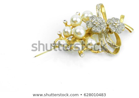 Picture diamond jewel on white background. Beautiful sparkling shining round shape emerald image wit Stock photo © AptTone