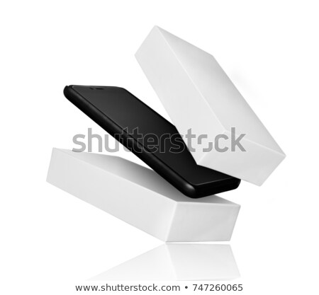 Opened box package with mobile phone isolated on black background, 3d Illustration Stock photo © tussik