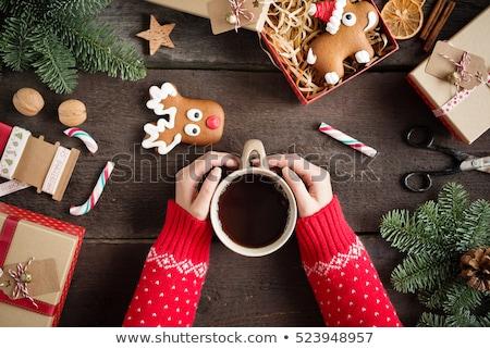 hot · thee · christmas · herten · mooie · witte - stockfoto © manera