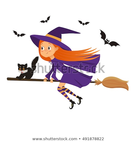 Halloween Witch and Cat Flying on Broomstick Stock photo © Krisdog