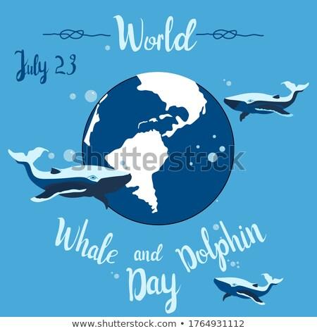 springen · dolfijn · icon · zwart · wit · vis · zee - stockfoto © olena