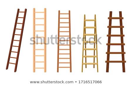 fából · készült · létra · padlás · izolált · fehér · ház - stock fotó © andrei_