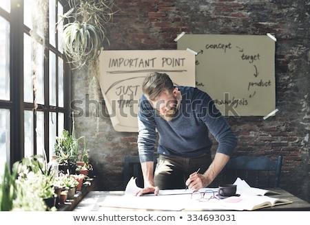 start up business on white brick wall stock photo © tashatuvango