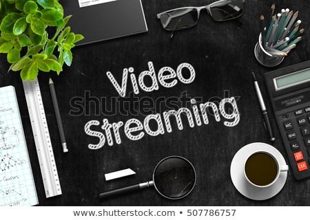 黒 黒板 ビデオ ストリーミング 3D レンダリング ストックフォト © tashatuvango