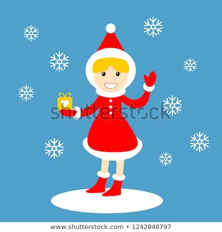 Stockfoto: Kerstman · gelukkig · cartoon · hand
