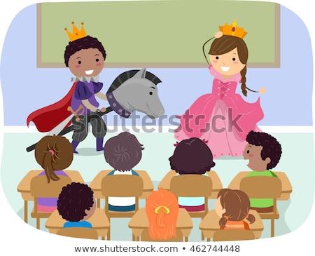 kinderen · drama · klasse · illustratie · achtergrond · venster - stockfoto © lenm