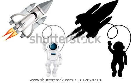 male and female silhouettes on outer space background stock photo © sonya_illustrations