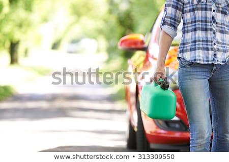 Kobieta benzyny puszka drogowego charakter Zdjęcia stock © IS2
