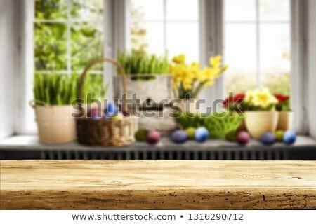 イースター ウィンドウ イースターエッグ 春の花 花瓶 花 ストックフォト © unikpix