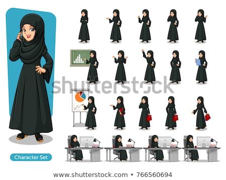 arab · üzletasszony · beszél · telefon · irodai · asztal · számítógép - stock fotó © studioworkstock