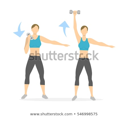 Stock photo: Young woman lifting hand weights