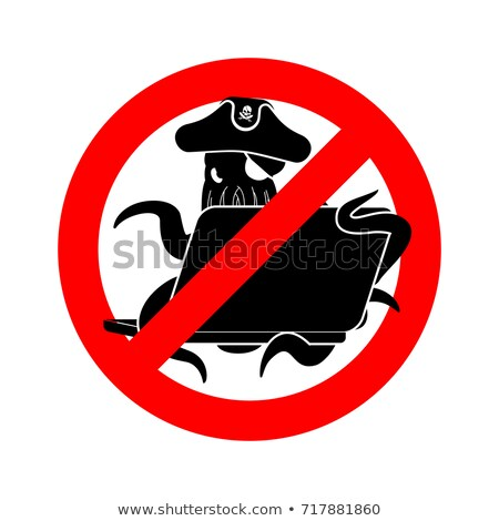 Stop Web pirate Octopus and laptop. Ban sign poulpe internet hac Stock photo © popaukropa