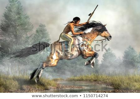 ネイティブ · アメリカ先住民 · 馬に乗って · 日没 · 実例 · 馬 - ストックフォト © adrenalina