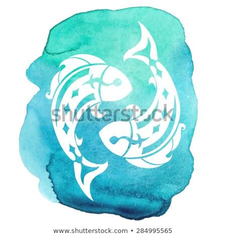 Fish Zodiac sign icon. Sea animal symbol isolated Stock photo © popaukropa