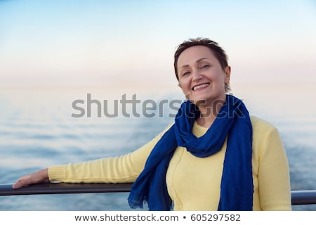 Mulher madura relaxante iate diversão sucesso navegação Foto stock © IS2