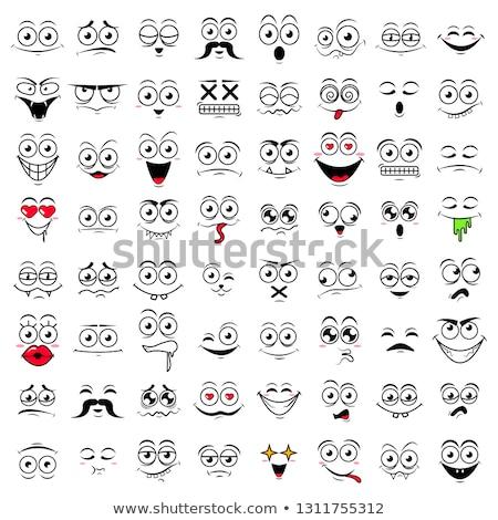 Huilen cartoon grappig gezicht tranen gezicht mond Stockfoto © hittoon