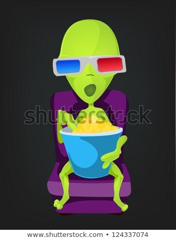 patlamış · mısır · maskot · koltuk · 3d · gözlük · gülümseme · sinema - stok fotoğraf © lenm