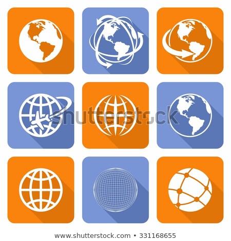 orange arrows around planet earth globe vector illustration isolated on white background stock photo © kyryloff