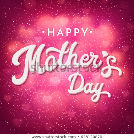 Happy Mothers Day Greeting card illustration with pink flower and typographic design on blue backgro Stock photo © articular