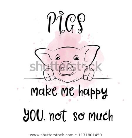 Typografie poster creatieve leuze varkens Stockfoto © balasoiu