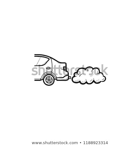 Stock photo: Car emitting exhaust fumes hand drawn outline doodle icon.