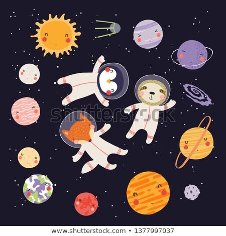felice · cartoon · illustrazione · pianeta · guardando · sorridere - foto d'archivio © cthoman
