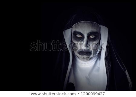 portré · ijesztő · gonosz · apáca · visel · tipikus - stock fotó © nito