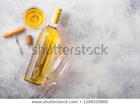 白ワイン · 眼鏡 · ボトル · コークスクリュー · 孤立した · 白 - ストックフォト © denismart