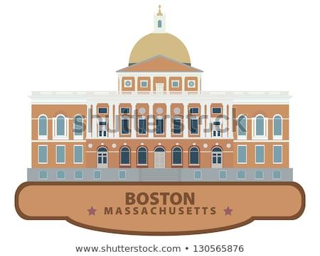 Cartoon Массачусетс иллюстрация улыбаясь графических Америки Сток-фото © cthoman