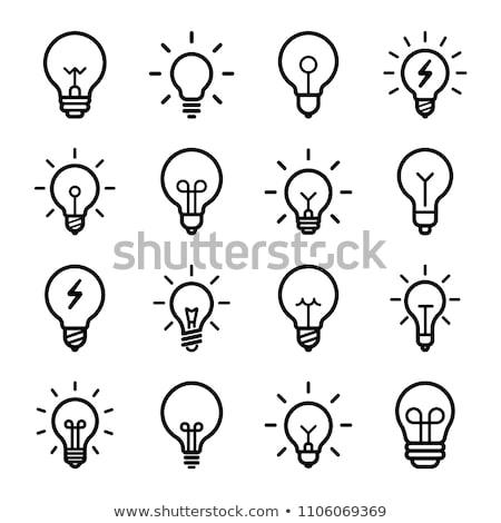 villanykörték · szett · ikonok · lámpa · fekete · erő - stock fotó © bluering