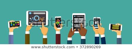 мобильного телефона человека разработчик рабочих Сток-фото © robuart