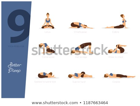 meditatie · yoga · zwart · wit · ingesteld · schets - stockfoto © anastasiya_popov