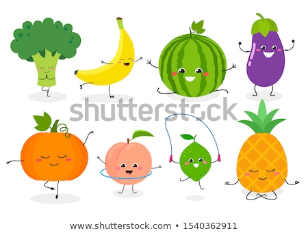 vegan food concept cartoon vegetables and fruit stock photo © cienpies