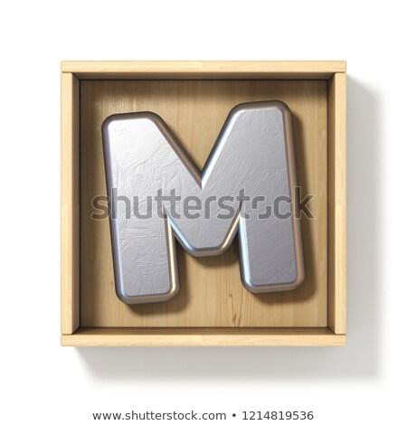 Gümüş Metal mektup m ahşap kutu 3D Stok fotoğraf © djmilic