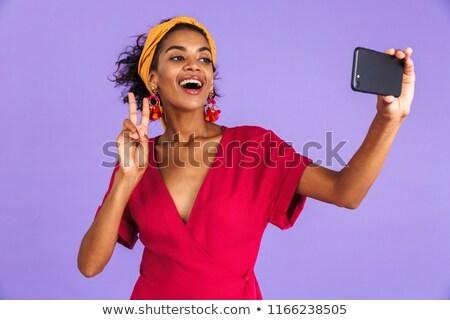 興奮した かなり アフリカ 女性 孤立した バイオレット ストックフォト © deandrobot