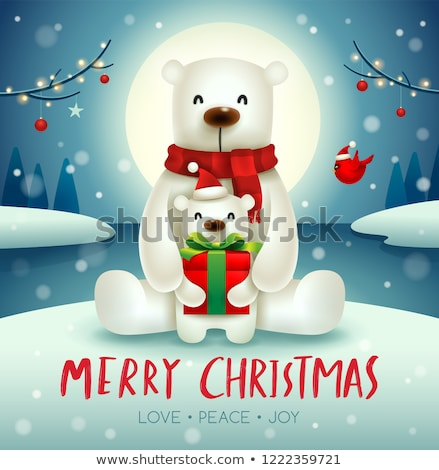 полярный медведь ребенка Рождества снега сцена Сток-фото © ori-artiste