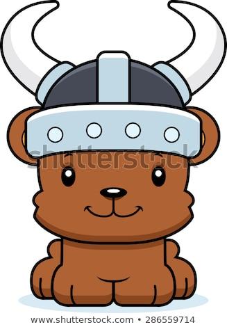 Rajz mosolyog viking medve Stock fotó © cthoman