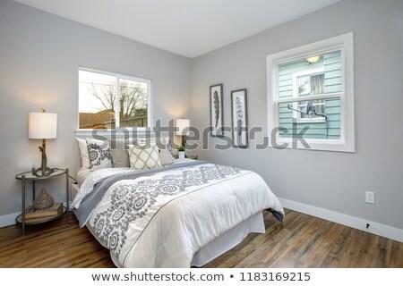 Mooie grijs witte slaapkamer borduurwerk patroon Stockfoto © iriana88w