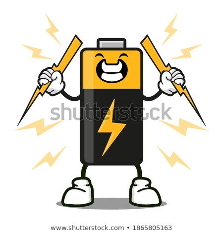 Cute Battery Cartoon Mascot Character Gesturing And Holding A Stop Sign Stock photo © hittoon