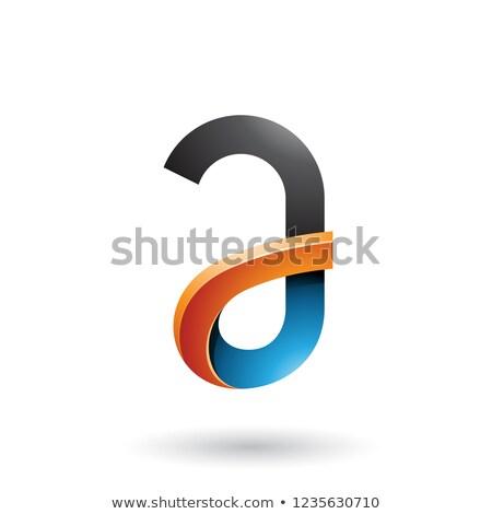 black and orange bold curvy letter a vector illustration stock photo © cidepix