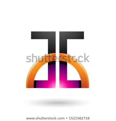 Magenta arancione lettere lucido metà cerchio Foto d'archivio © cidepix