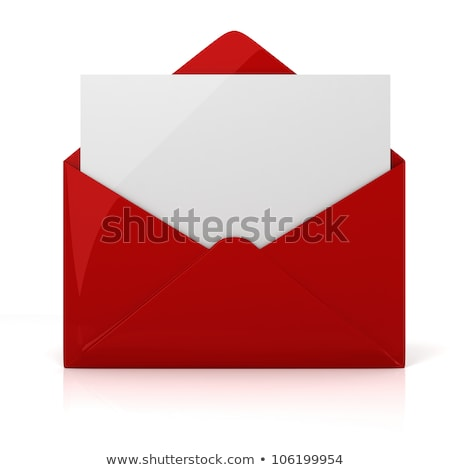 Foto d'archivio: Red E Mail Sign In The Opened Envelope 3d