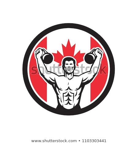 Fitnessz Kanada zászló ikon retró stílus illusztráció Stock fotó © patrimonio