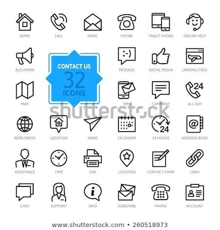 üzenet címkönyv szett ikonok fax kézfogás Stock fotó © robuart