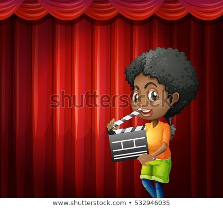 Girl holding clapboard in front of red curtain  Stock photo © colematt