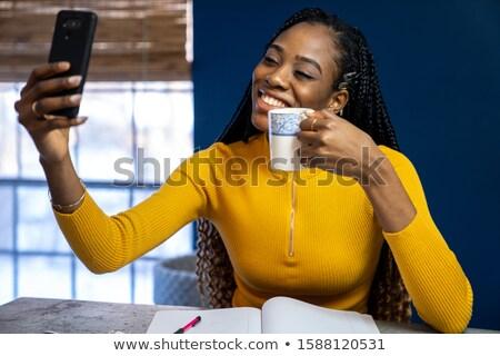 Stylish Frau lächelnd Retro Kamera Stock foto © deandrobot