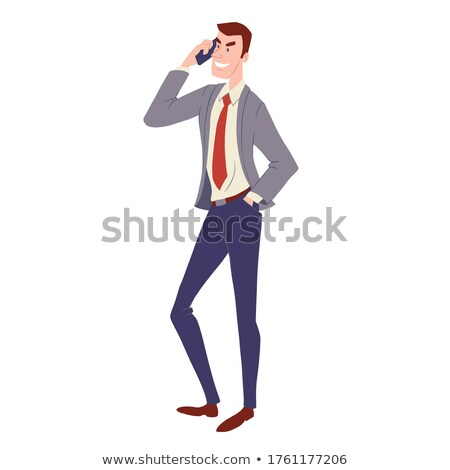 Cheerful Man in Suit and Tie, Smartphone Vector Stock photo © robuart