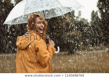 Boldog lány tart esernyő illusztráció gyermek diák Stock fotó © colematt