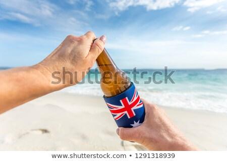 mutlu · kadın · Avustralya · gün · plaj · kutlama - stok fotoğraf © lovleah