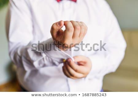 Vőlegény mandzsettagombok póló szoba kezek kéz Stock fotó © ruslanshramko